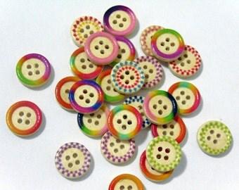 12 Mixed Circular wooden buttons