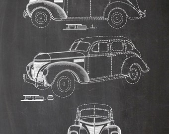 Car, automobile, 1938, Cadwallader, vintage, drawing, printing, print, A4, chalkboard, black, white, drawing, poster, wall art, wall art