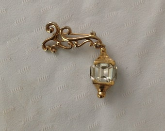 Calvaire Brooch Lamp Post Dangle Pin Vintage Lantern Jewel Brooch