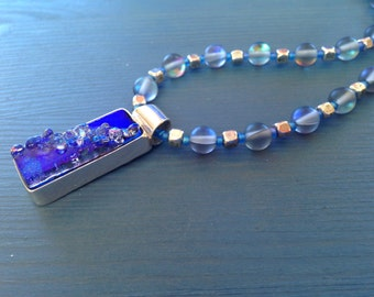 blue dichroic glass pendant necklace