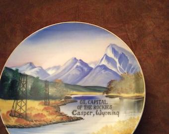 Plate, tourist plate, Casper Wyoming plate, Wyoming plate, Souvenir plate
