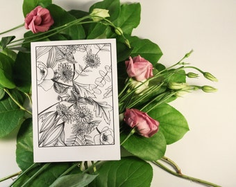 Floral Blank Greeting Card Set of 8