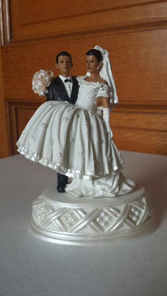 african american cake toppers american and groom cake top with pearl base 1239