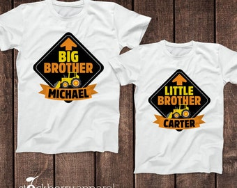 Personalized Big Brother Little Brother Construction Shirt Set - Brothers Dump Truck Shirt Set - Matching Brother Shirts - Photo Props