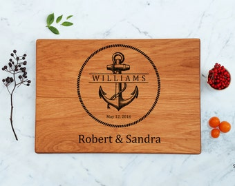 Personalized Anchor Wood Cutting Board Engagement Couple Gift Unique Wedding Nautical Sailor Gift Captain Father Engraved Gift Best Present