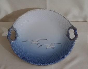 Copenhagen Porcelain Seagull Pattern Serving Dish with Handles Bing Grondahl (B&G) of Denmark