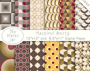 Digital Paper Pack SEAMLESS Hazelnut & Berry Patterns, Instant Download Paper Pack, Seamless Repeating Pattern