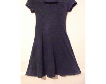 40% OFF!!! Blue Fit-and-Flare Skater Dress with Capped Sleeves