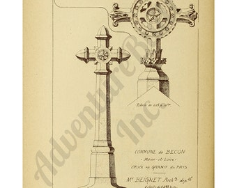 Vintage Architectural Drawing Cross