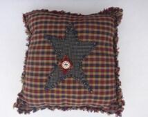 Patchwork cushion. Shabby chic, rustic appliqué star.