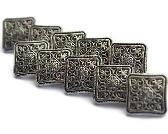 10 Pieces Damask Square Silver Tone Button.