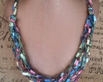 Pastel Shades Multi Strand Crocheted Hypoallergenic Ladder/Ribbon Yarn Necklace