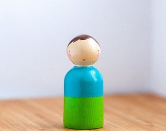 Wooden Peg Dolls/ Wooden Toy/Cake topper/Boy Doll