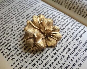 Vintage Gold Hibiscus Brooch