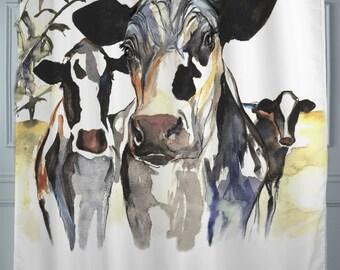 Holstein Cow Shower Curtain - black and white, designer shower curtain
