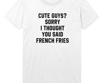 Cute Guys, French Fries Funny Mens Womens Tshirt Top STP53