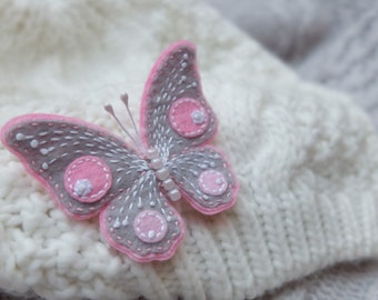 Butterfly brooch.Felt brooch. Embroidered brooch. Gray Pink White. Felt Butterfly. Gift for women.Romantic jewelry for girl.Mothers Day gift