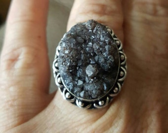 Druzy Ring- size 7.75! REDUCED!