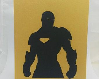 "Iron Man Inspired Cut Paper Silhouette Portrait 8"" x 10"" Cut Out Art Portraits"
