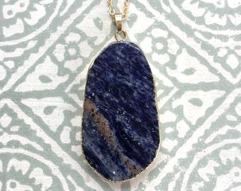 Blue Sodalite Pendant Necklace Gold