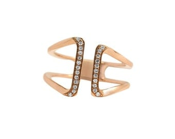 14k Rose Gold Ring with Diamond size 7