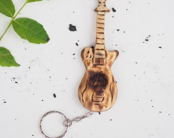 Wooden Guitar - key chain pendant, gift for musicians, burned, wooden sculpure
