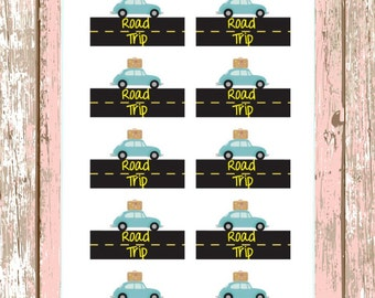 142~~10 Road Trip Vacation Planner Stickers.