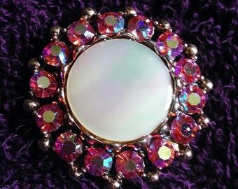 Beautiful Pink Aurora Borealis Vintage Brooch