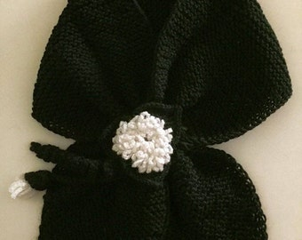 Black Crochet Scarf With White Flowers