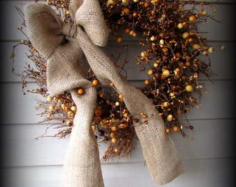 """Tan and Brown Mixed Large Berries Pip Berry Wreath -22"""" -NEW-Made in SC"""