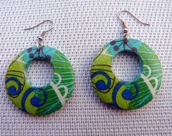 """Créoles vert, bleu, blanc, boucles d'oreilles  """"collection tropique"""""""