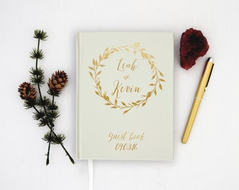 Wedding Guest Book Personalized Gold Guest Books Custom Guestbook Modern Wedding Gold Foil faux Laurel Wreath Wedding - Ivory