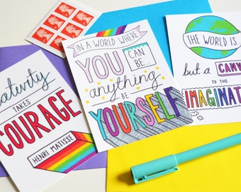 Inspirational postcard pack. Motivational, colourful, typographic, pack of 3 postcards