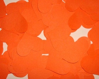 Orange Confetti Heards 100 pcs  1""