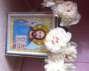 Beads Embroidered Icon of Jesus Christ in Blue