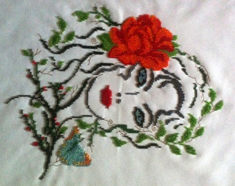 Beads Embroided Girl with Butterflies