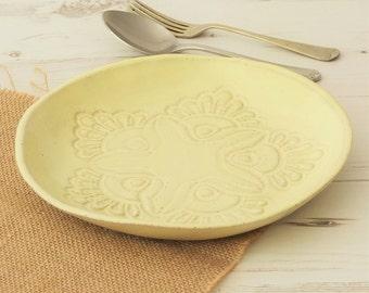 Handmade ceramic pasta bowl, vintage lace, pottery bowl, yellow pasta bowl, handmade bowl, salad, dinnerware, kitchen, dining, serving bowl