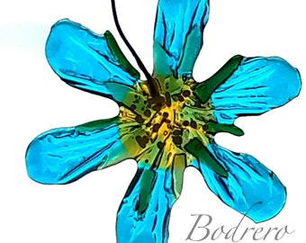Fused glass Glassy Turquoise Flower decoration Acchiappasole Clematis