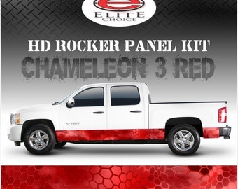 """Chameleon Hex 3 Red Camo Rocker Panel Graphic Decal Wrap Truck SUV - 12"""" x 24FT"""