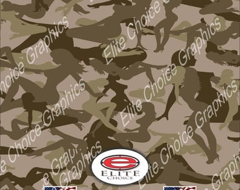"Trucker Girl  Desert 15""x52"" or 24""x52"" Truck/Pattern Print Tree Real Camouflage Sticker Roll or Sheet"