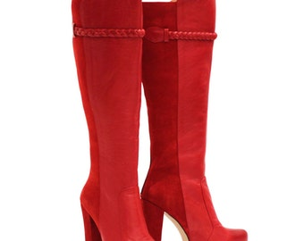 Knee High Leather Chunky Heel Boot