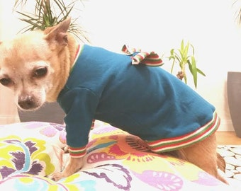 Dog Sweater, Cute Dog clothes, Pet clothes Handmade, cozy dog sweater,Teal with multi color Ribbing
