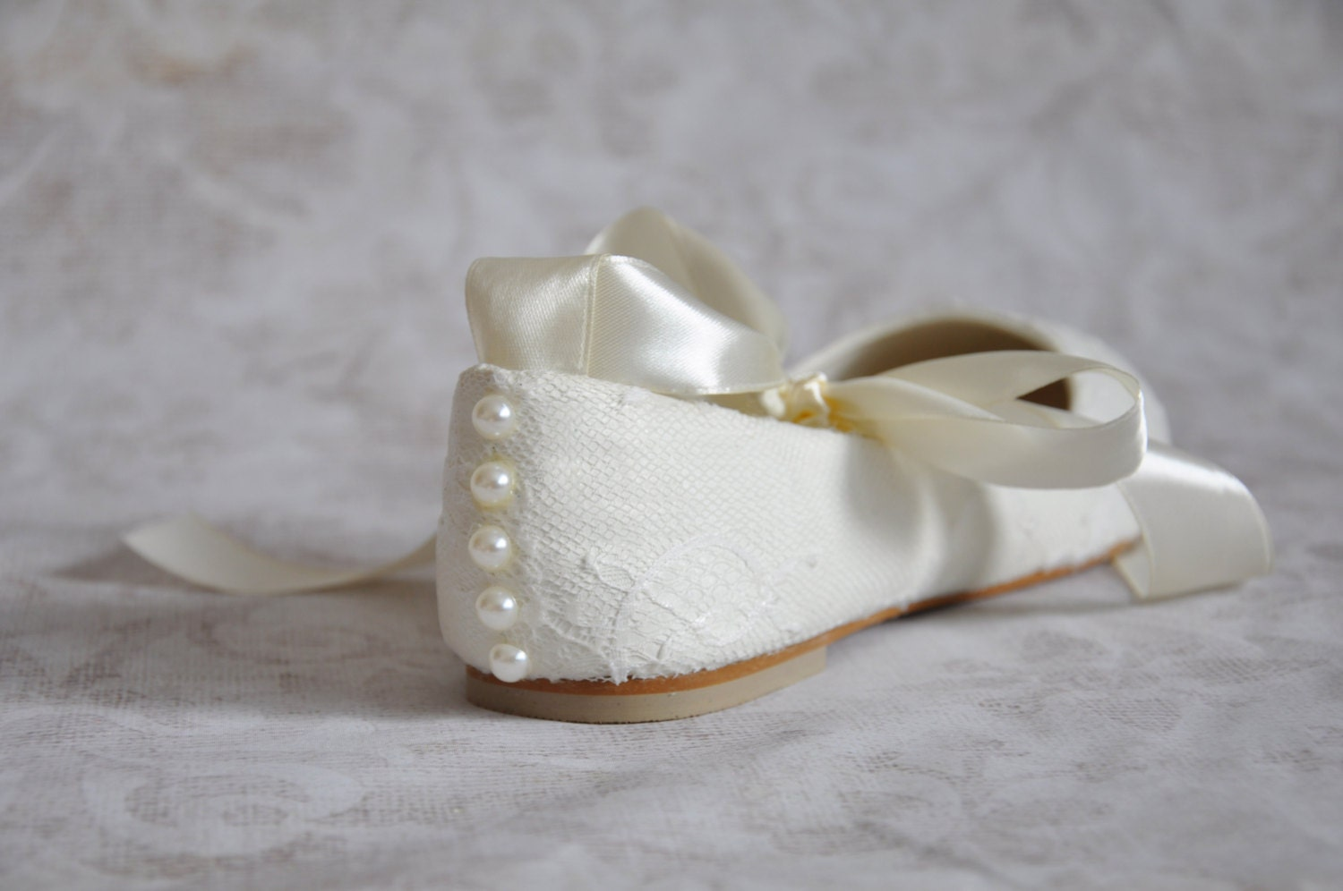 Lace Wedding Flats Ballet Flats With Ribbon Ivory Lace Bridal