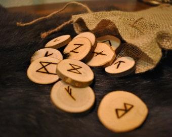 Handmade Rune Set with pouch ~ Pagan, Nordic, divination, Elder Futhark