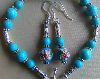 Turquoise Howlite and Cloisonne Bracelet and Earrings Set
