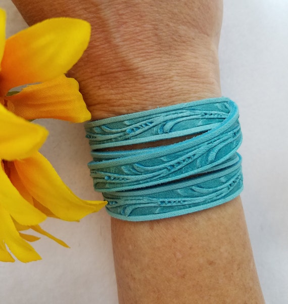 Black Brown Leather Cuff, Floral Leather Wrist Wrap, Turquoise Leather Bracelet, Leather Bracelet, Floral Tooled Wrap Bracelet, Leather Gift