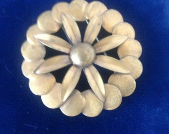 Vintage Signed Hallmarked Kirschenbaum N. Y. Copper Floral Daisy Sunflower Brooch Pin.--Abstract Modernist
