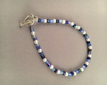 White and Blue Seed Bead Bracelet