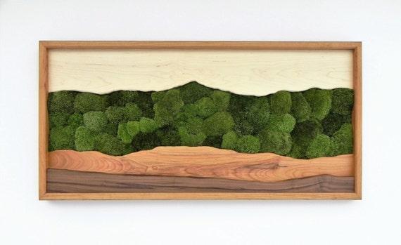 Green Mountain moss wall art /Sugar maple, cherry, walnut, preserved moss/