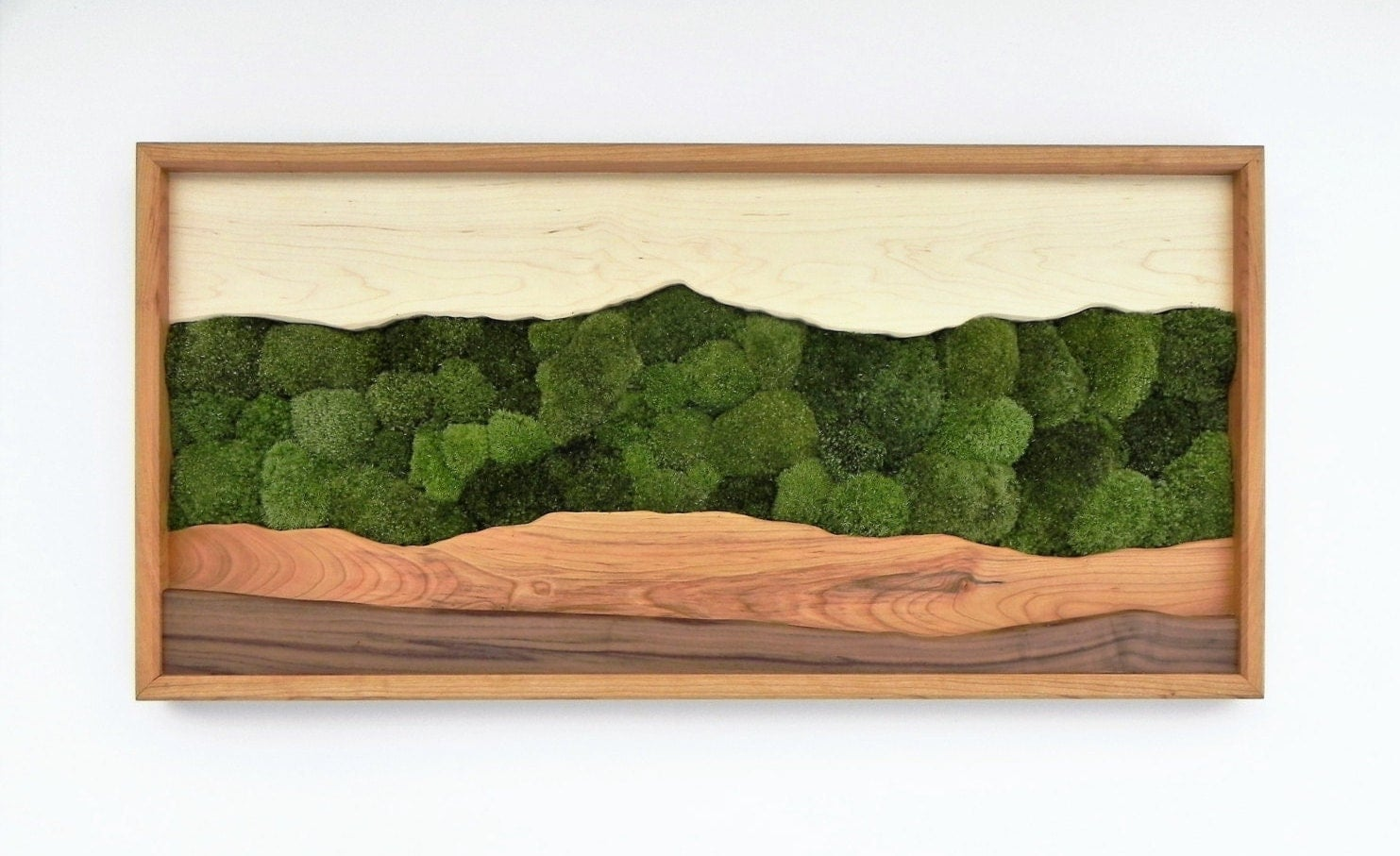 Charmant Green Mountain Moss Wall Art /Sugar Maple, Cherry, Walnut, Preserved Moss/